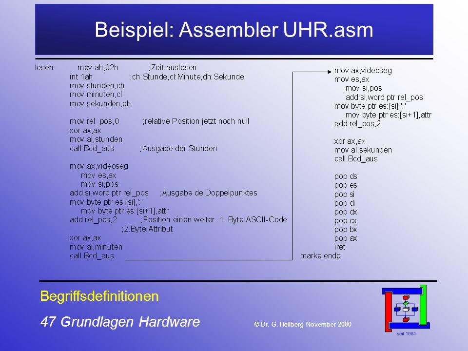 Beispiel: Assembler UHR.asm