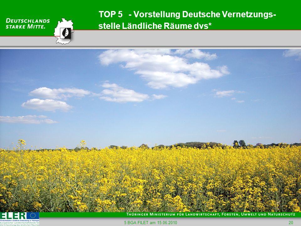 TOP 5 - Vorstellung Deutsche Vernetzungs-stelle Ländliche Räume dvs*