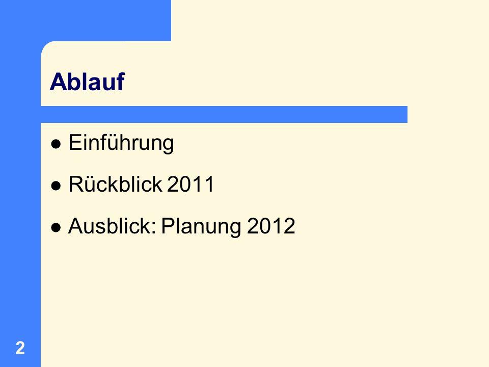 Ablauf Einführung Rückblick 2011 Ausblick: Planung 2012