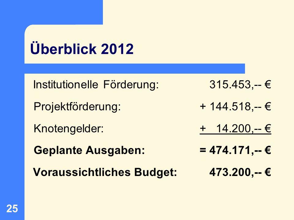 Überblick 2012 Institutionelle Förderung: 315.453,-- €
