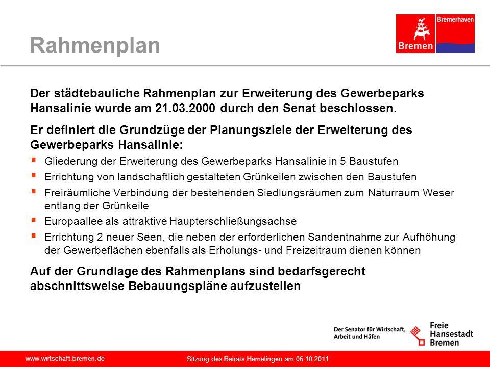 Rahmenplan Der städtebauliche Rahmenplan zur Erweiterung des Gewerbeparks Hansalinie wurde am 21.03.2000 durch den Senat beschlossen.