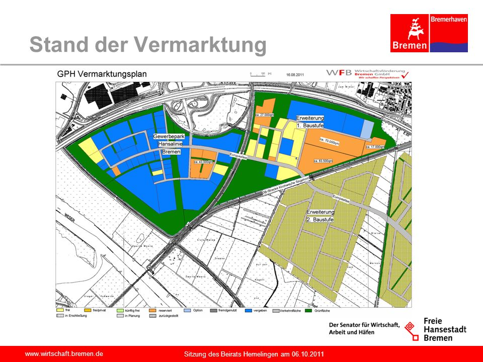 Stand der Vermarktung Sitzung des Beirats Hemelingen am 06.10.2011