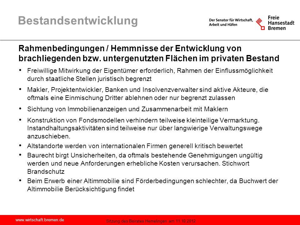 Bestandsentwicklung Rahmenbedingungen / Hemmnisse der Entwicklung von brachliegenden bzw. untergenutzten Flächen im privaten Bestand.