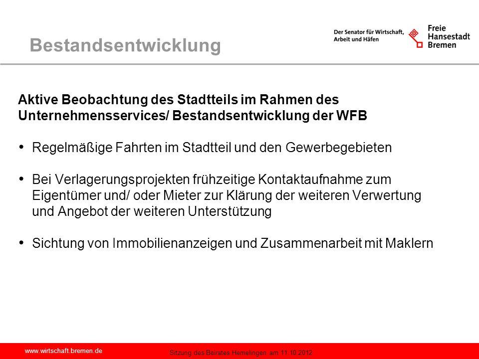 Bestandsentwicklung Aktive Beobachtung des Stadtteils im Rahmen des Unternehmensservices/ Bestandsentwicklung der WFB.