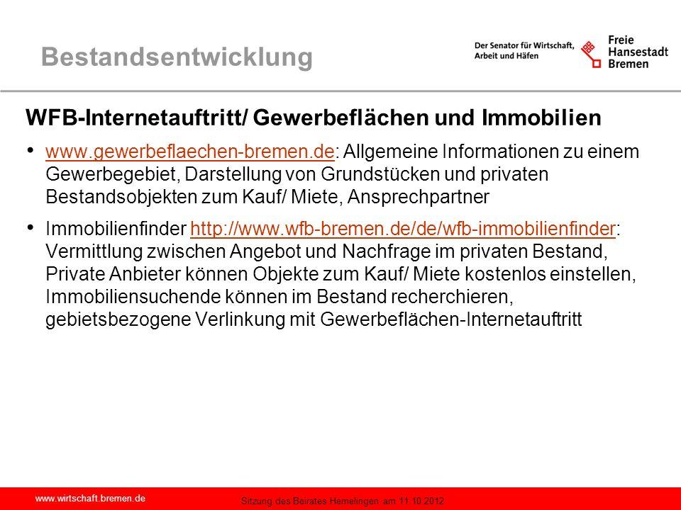 Bestandsentwicklung WFB-Internetauftritt/ Gewerbeflächen und Immobilien.