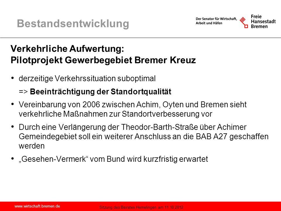 Bestandsentwicklung Verkehrliche Aufwertung: