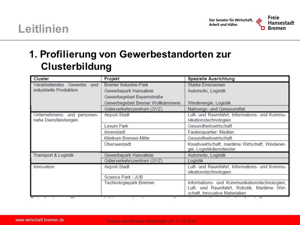 Leitlinien 1. Profilierung von Gewerbestandorten zur Clusterbildung