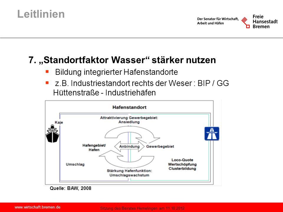 """Leitlinien 7. """"Standortfaktor Wasser stärker nutzen"""
