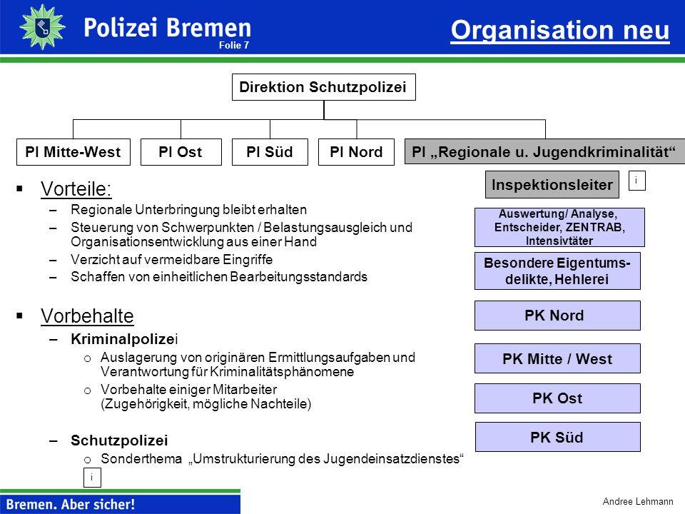Organisation neu Vorteile: Vorbehalte Direktion Schutzpolizei