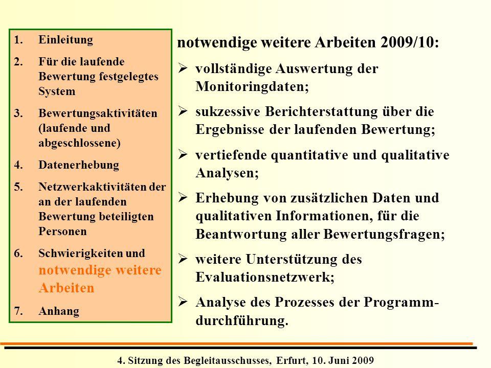 notwendige weitere Arbeiten 2009/10: