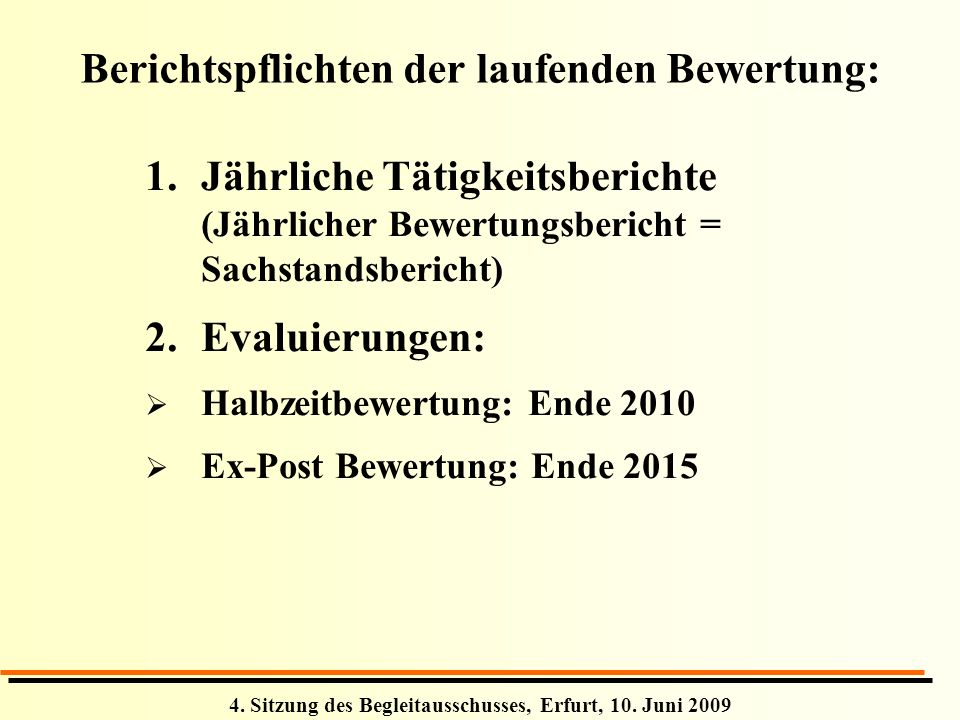 Berichtspflichten der laufenden Bewertung:
