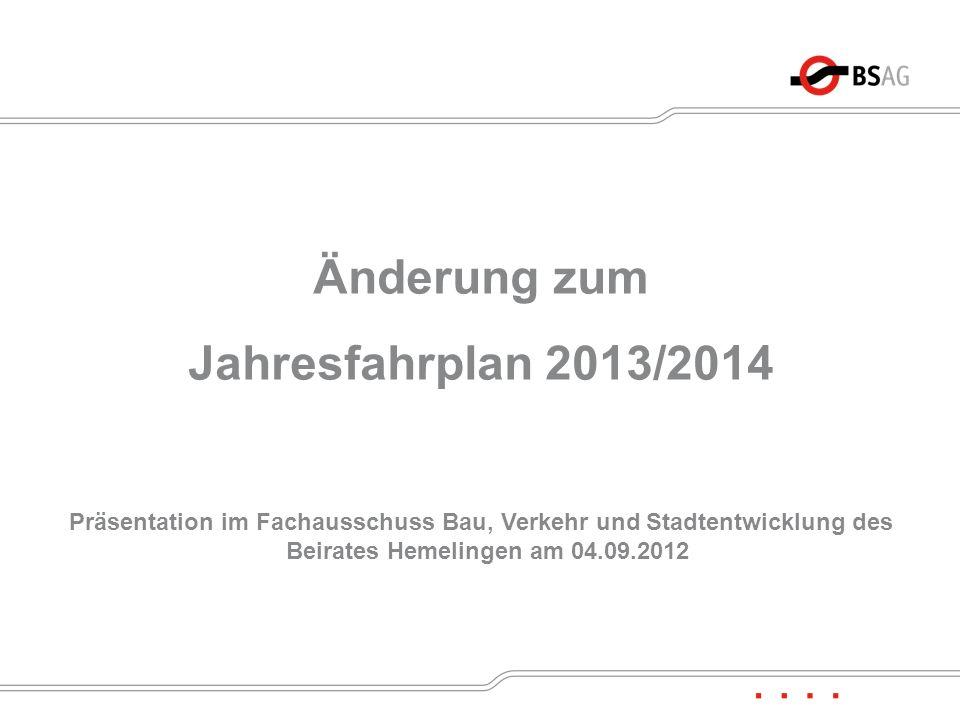 Änderung zum Jahresfahrplan 2013/2014
