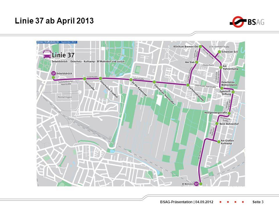 Linie 37 ab April 2013 BSAG-Präsentation | 04.09.2012