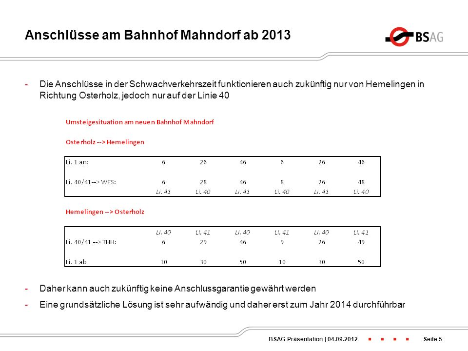 Anschlüsse am Bahnhof Mahndorf ab 2013