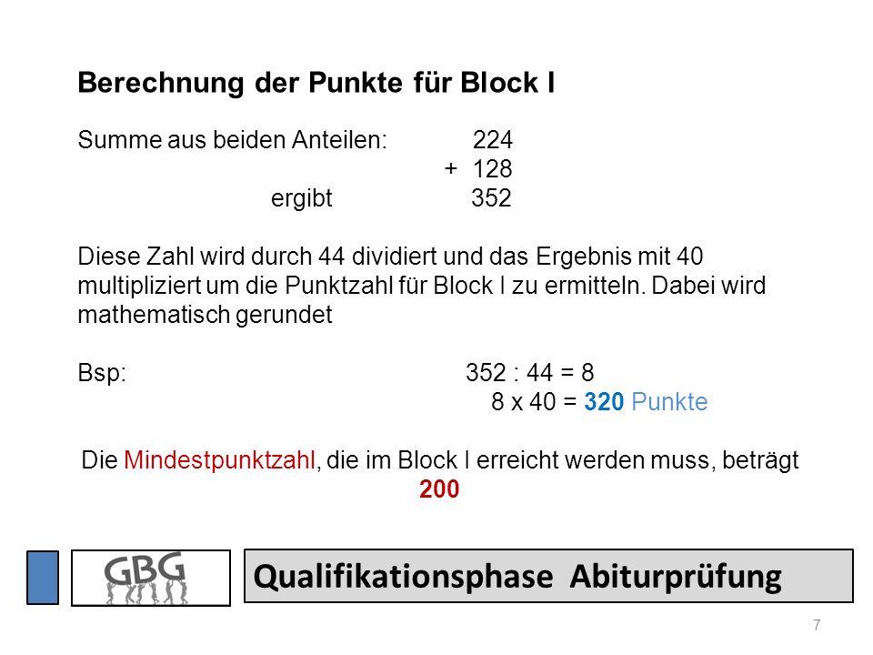Die Mindestpunktzahl, die im Block I erreicht werden muss, beträgt 200