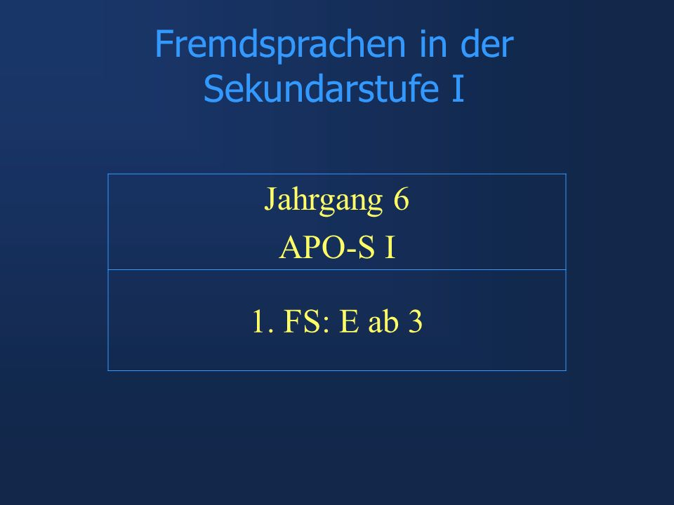 Fremdsprachen in der Sekundarstufe I
