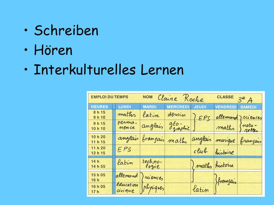 Schreiben Hören Interkulturelles Lernen