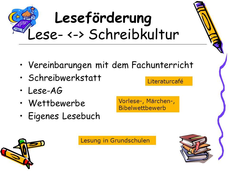 Leseförderung Lese- <-> Schreibkultur
