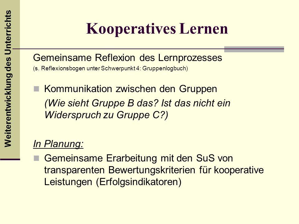 Kooperatives Lernen Gemeinsame Reflexion des Lernprozesses