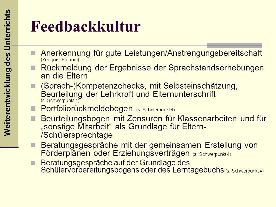 Feedbackkultur Anerkennung für gute Leistungen/Anstrengungsbereitschaft (Zeugnis, Plenum)