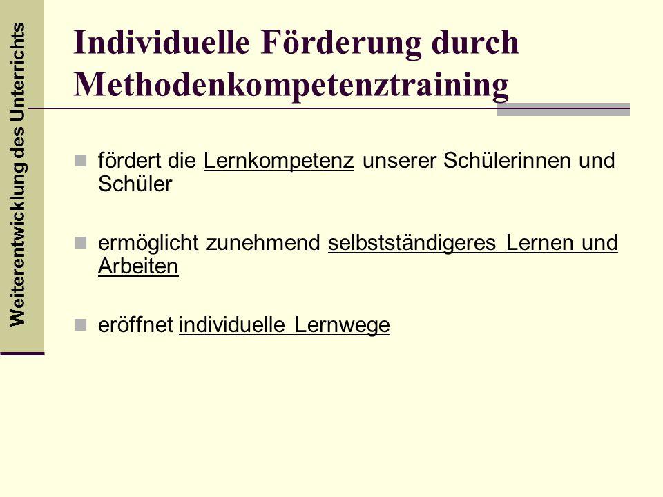 Individuelle Förderung durch Methodenkompetenztraining