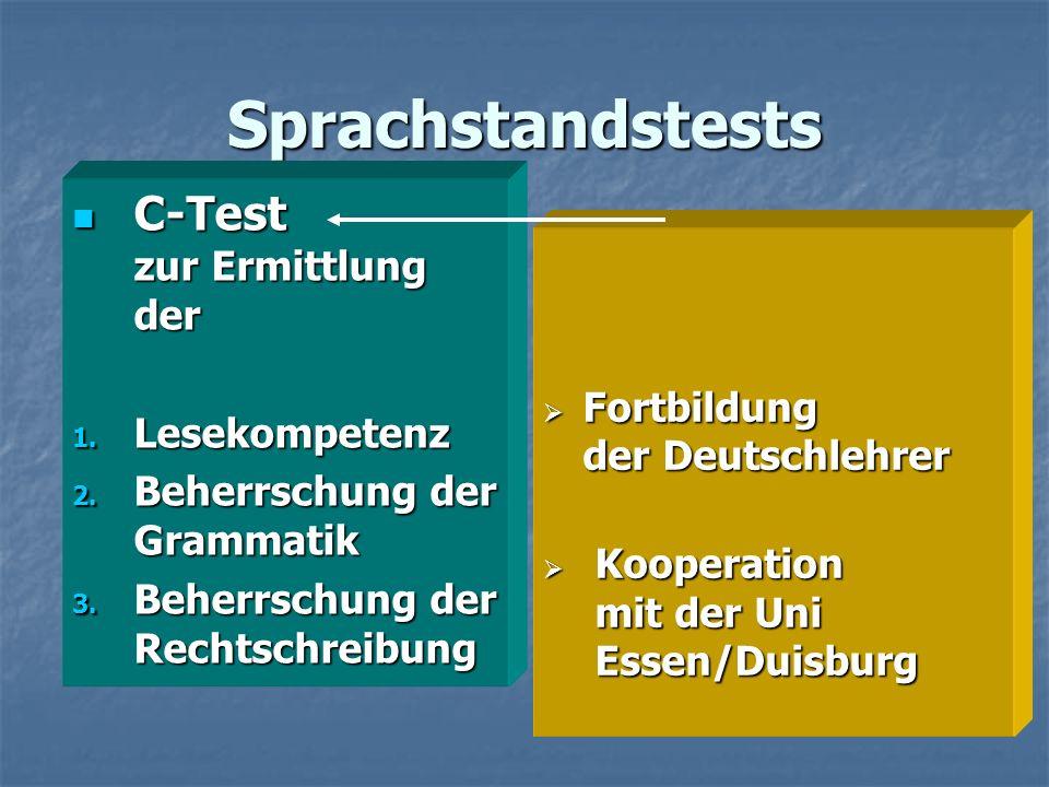 Sprachstandstests C-Test zur Ermittlung der Lesekompetenz