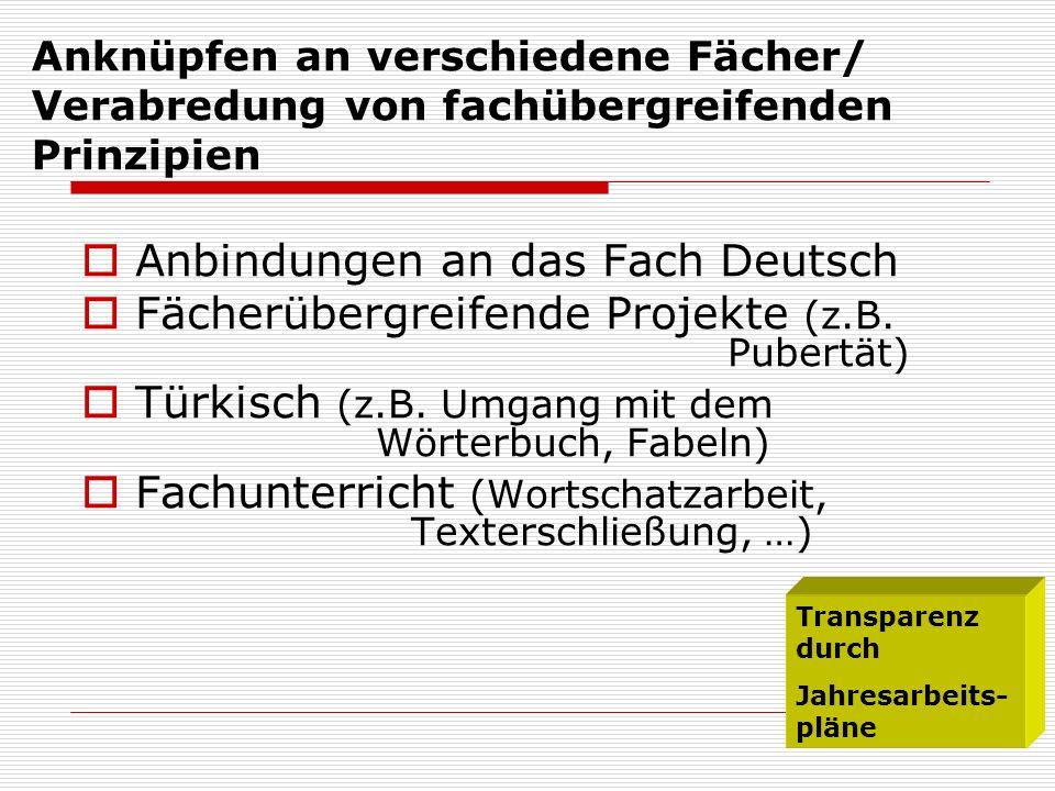 Anbindungen an das Fach Deutsch