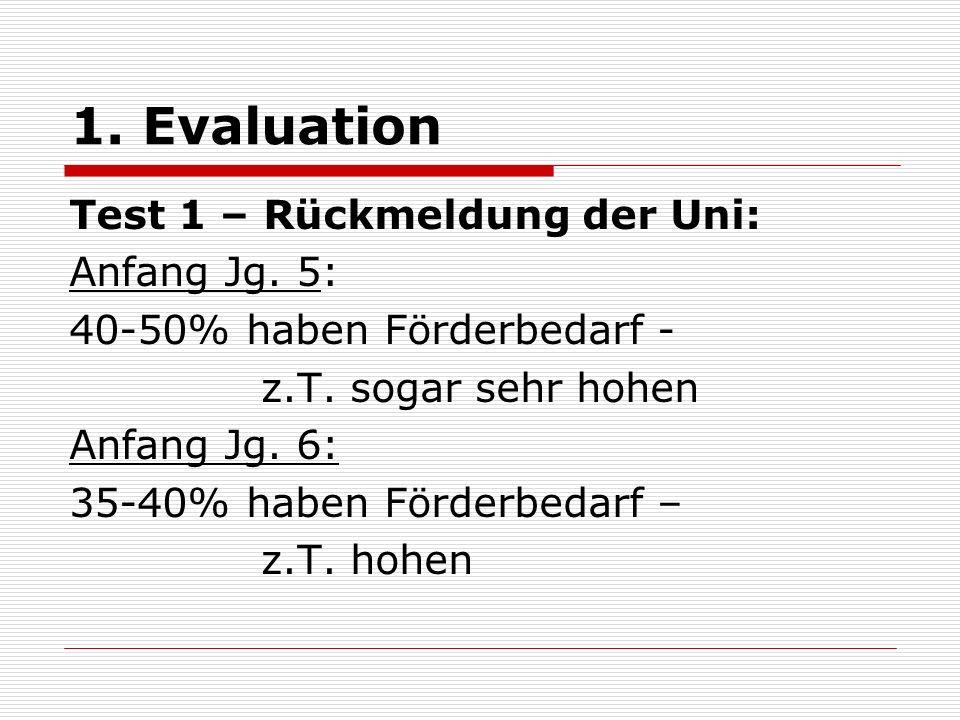 1. Evaluation Test 1 – Rückmeldung der Uni: Anfang Jg. 5: