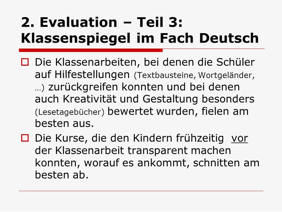 2. Evaluation – Teil 3: Klassenspiegel im Fach Deutsch