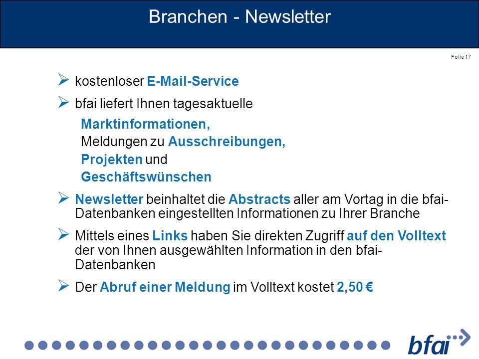 Branchen - Newsletter kostenloser E-Mail-Service