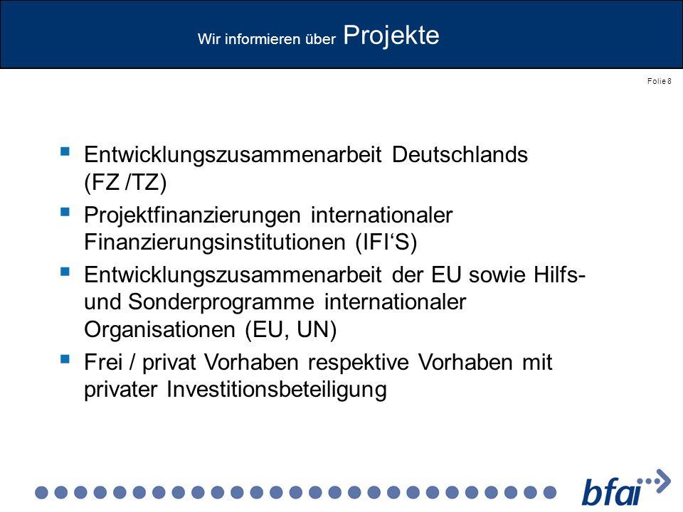 Wir informieren über Projekte
