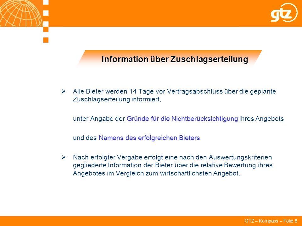 Information über Zuschlagserteilung