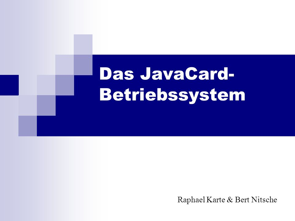 Das JavaCard-Betriebssystem