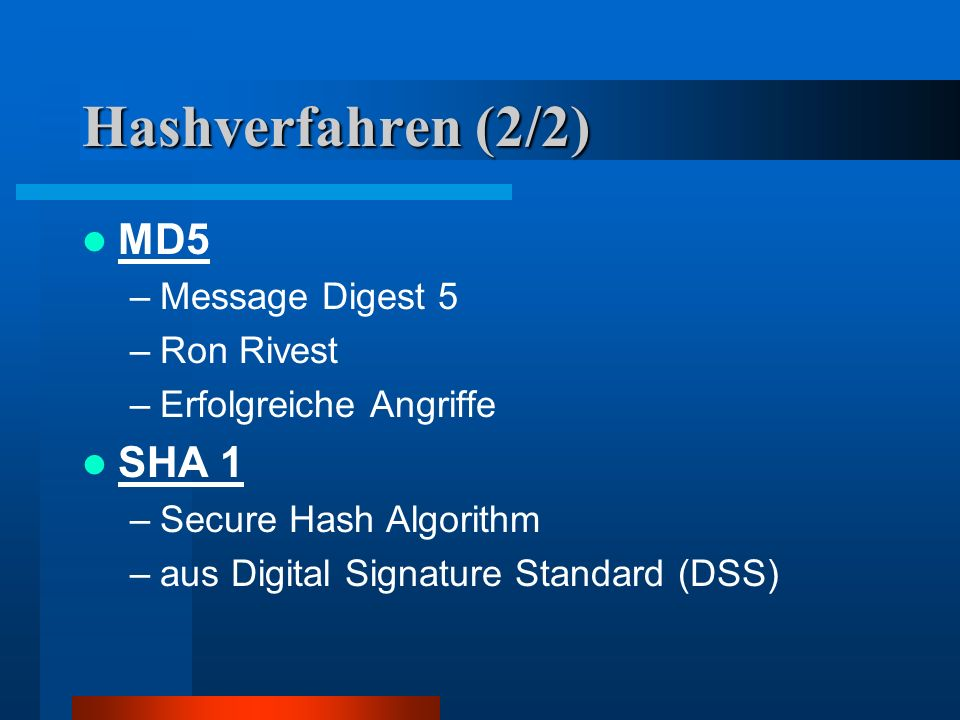 Hashverfahren (2/2) MD5 SHA 1 Message Digest 5 Ron Rivest