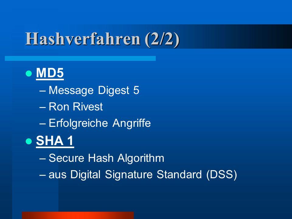 Hashverfahren (2/2) MD5 SHA 1 Message Digest 5 Ron Rivest