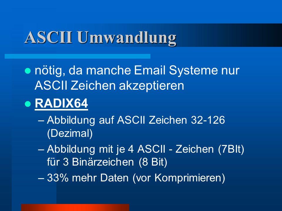 ASCII Umwandlung nötig, da manche Email Systeme nur ASCII Zeichen akzeptieren. RADIX64. Abbildung auf ASCII Zeichen 32-126 (Dezimal)