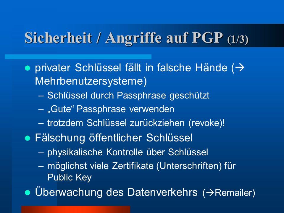 Sicherheit / Angriffe auf PGP (1/3)