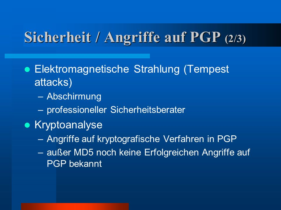 Sicherheit / Angriffe auf PGP (2/3)