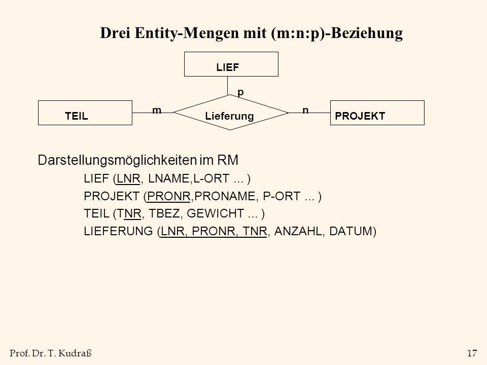 Drei Entity-Mengen mit (m:n:p)-Beziehung