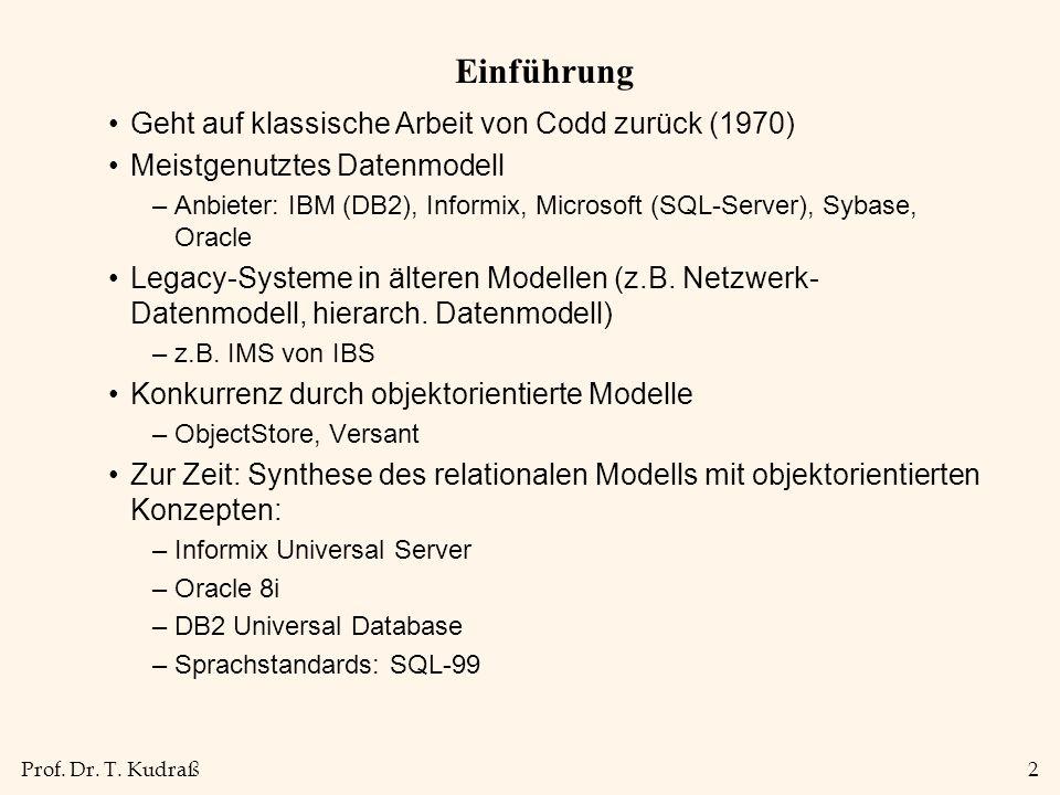 Einführung Geht auf klassische Arbeit von Codd zurück (1970)