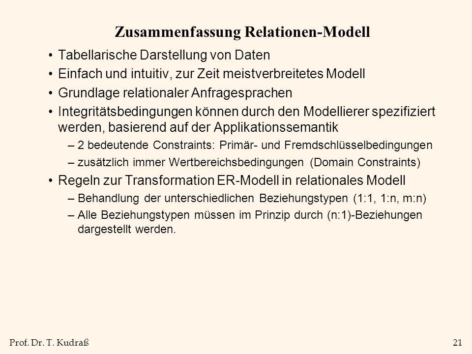 Zusammenfassung Relationen-Modell