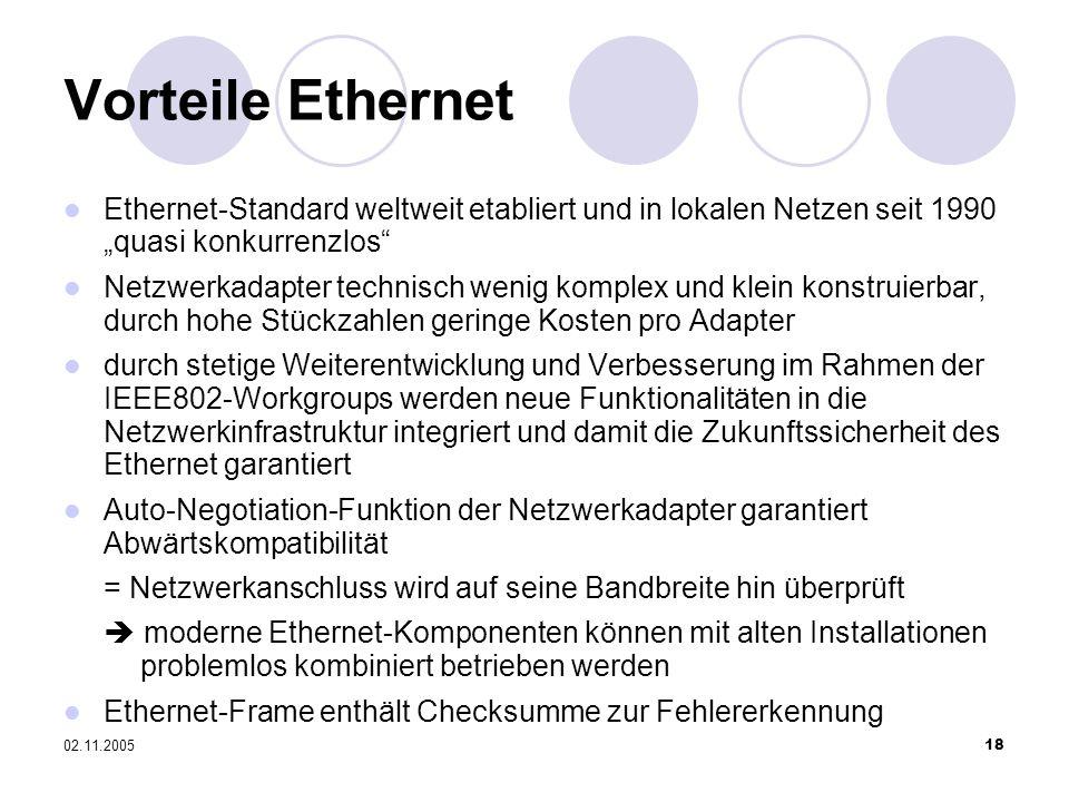 """Vorteile Ethernet Ethernet-Standard weltweit etabliert und in lokalen Netzen seit 1990 """"quasi konkurrenzlos"""