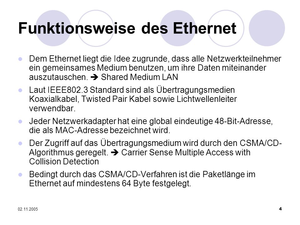 Funktionsweise des Ethernet