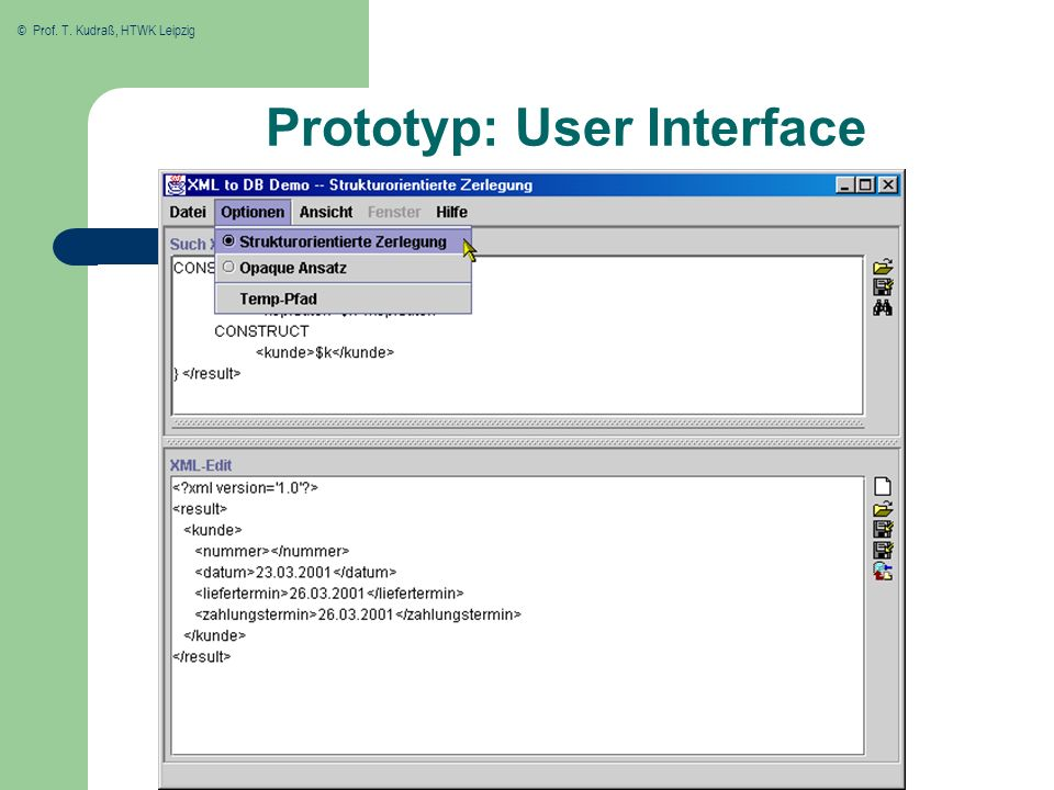 Prototyp: User Interface