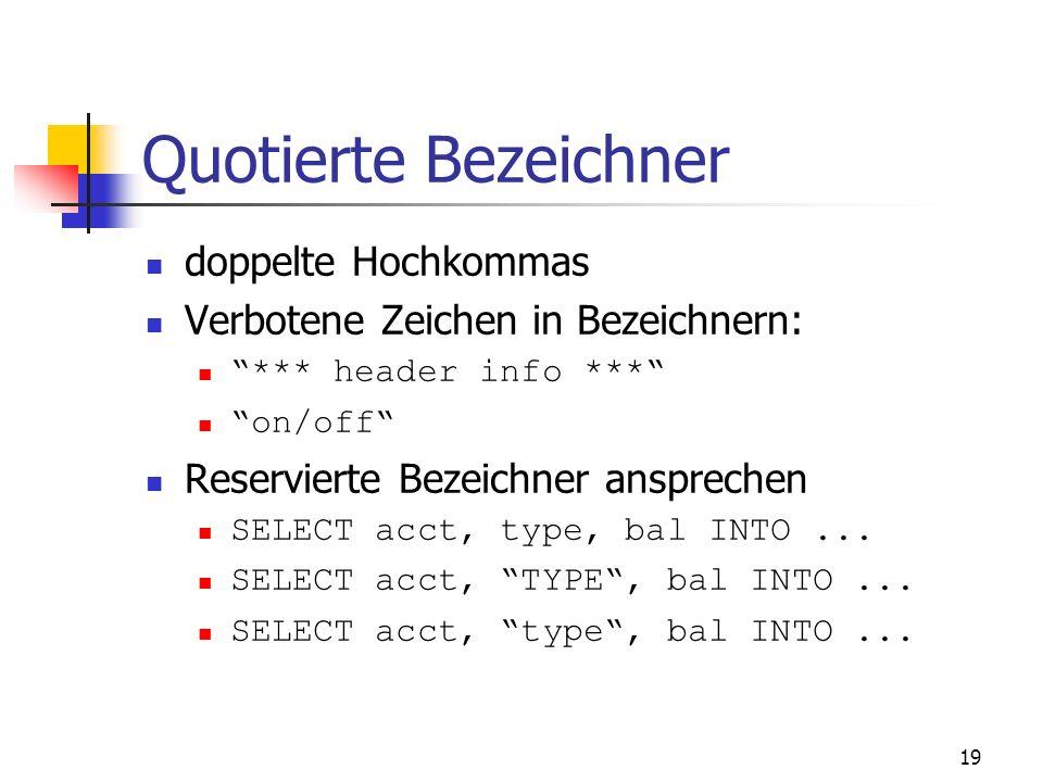 Quotierte Bezeichner doppelte Hochkommas