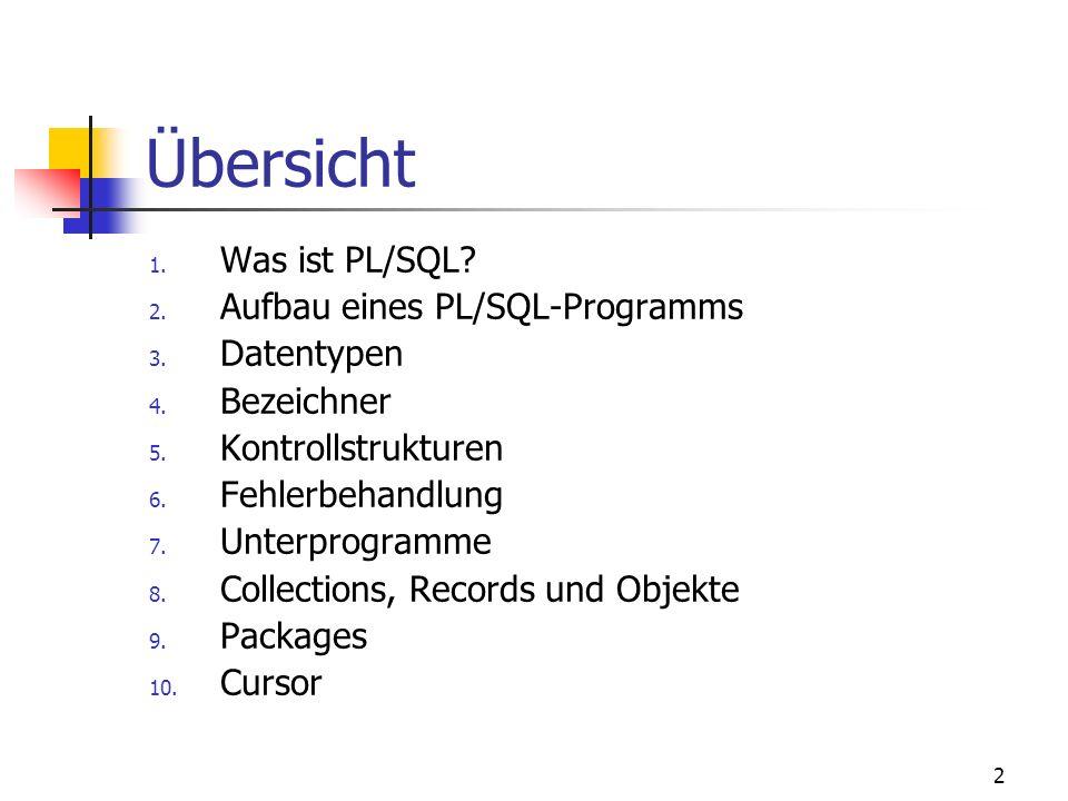 Übersicht Was ist PL/SQL Aufbau eines PL/SQL-Programms Datentypen