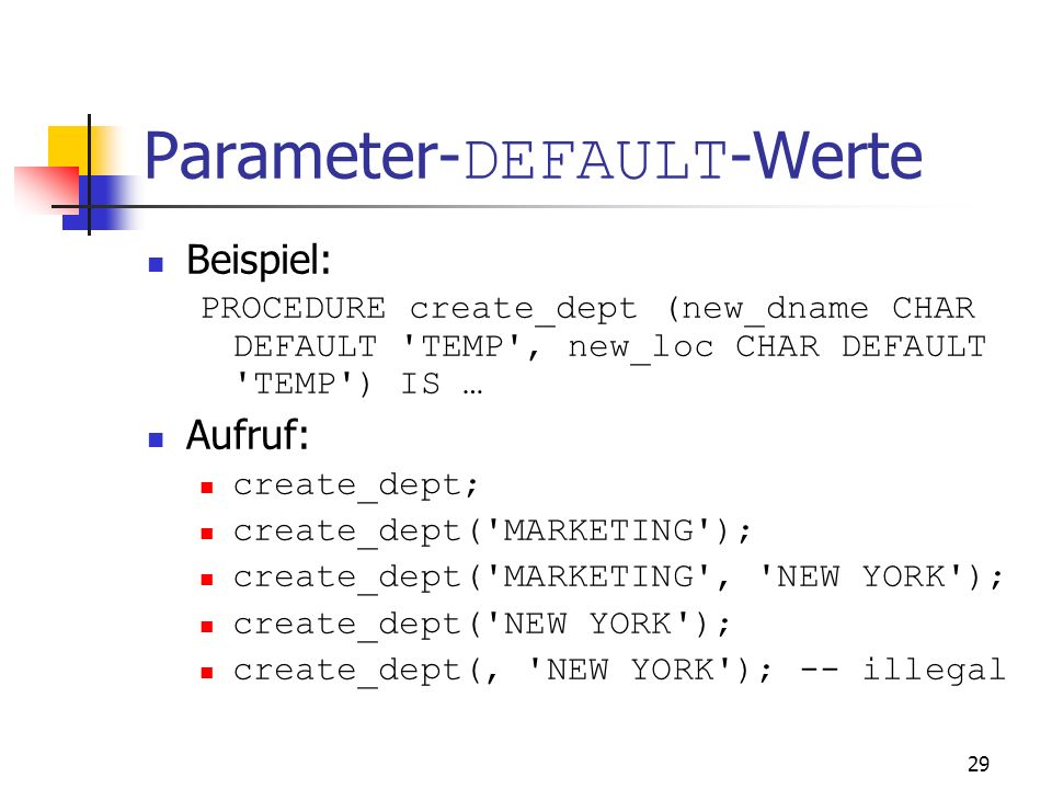 Parameter-DEFAULT-Werte