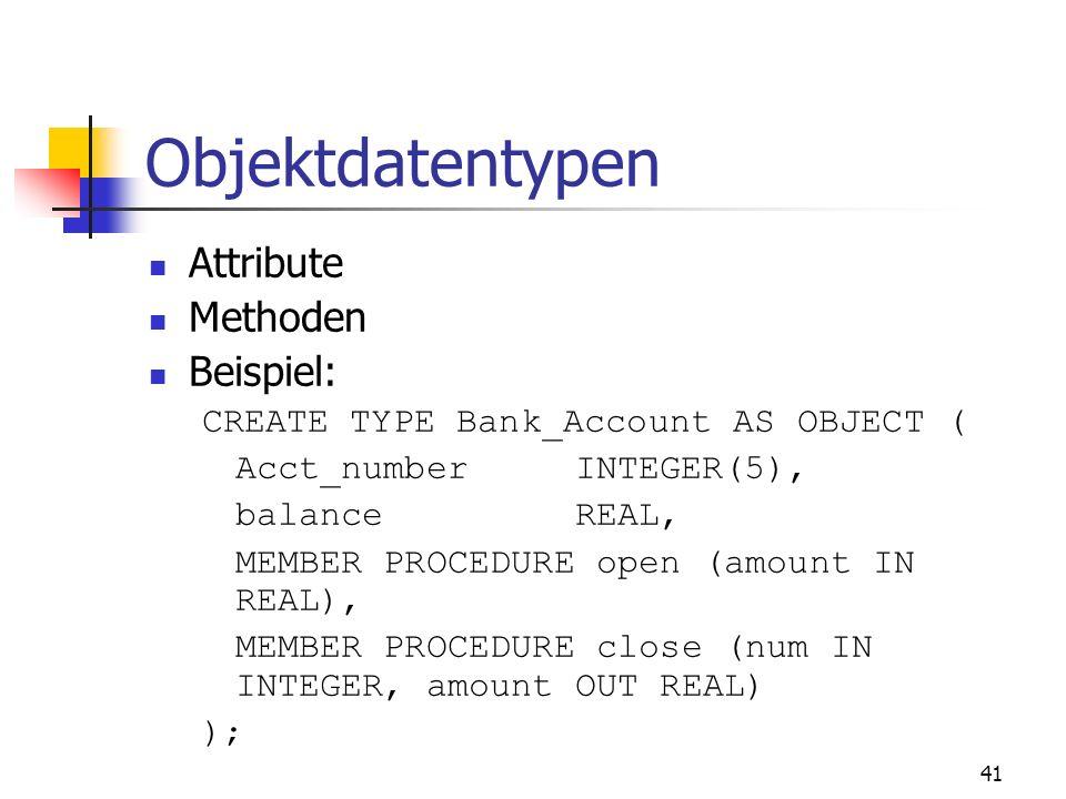 Objektdatentypen Attribute Methoden Beispiel: