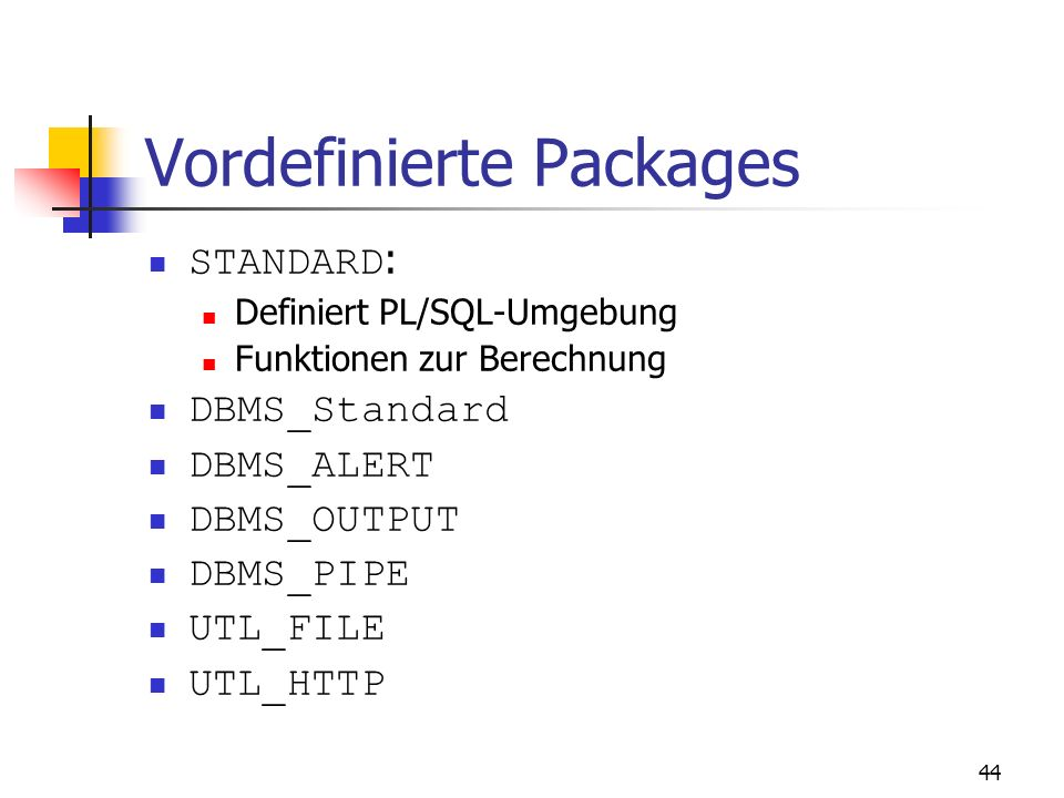 Vordefinierte Packages
