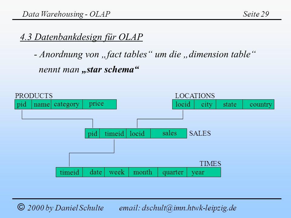 4.3 Datenbankdesign für OLAP